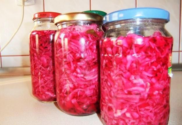 Salata de varza rosie si alba la borcan, pentru iarna