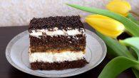 Prajitura cu fulgi de ciocolata, crema si frisca